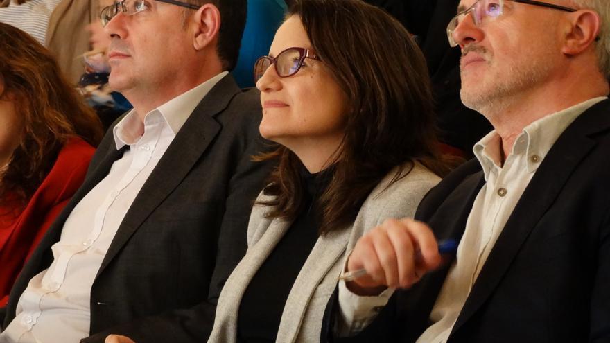 Enric Morera, Mònica Oltra y Antonio Montiel en la presentación de las candidaturas.