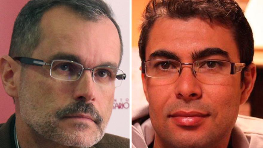 El alcalde de Puerto del Rosario, Marcial Morales (i), y el tesorero municipal de Antigua, Tenesor Martín (d).