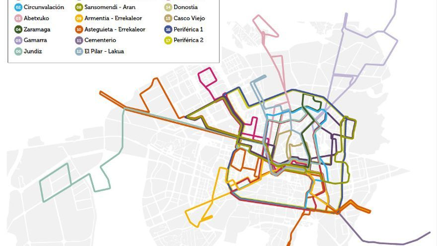 Red de autobuses de Vitoria-Gasteiz hasta octubre de 2009