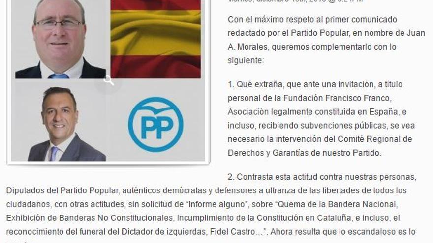 Captura del comunicado conjunto de Juan Antonio Morales