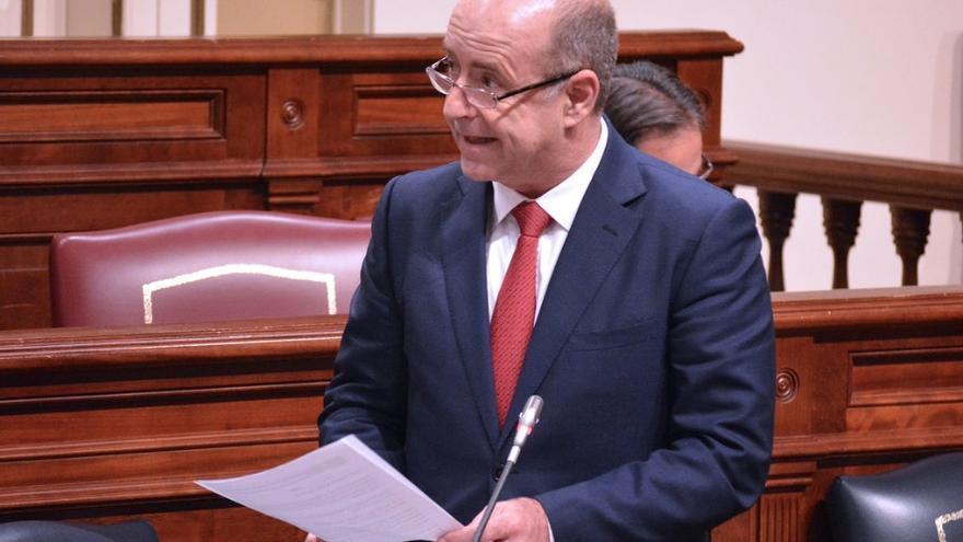 El consejero de Economía, Industria y Comercio y Conocimiento del Gobierno de Canarias, Pedro Ortega, durante la sesión parlamentaria.