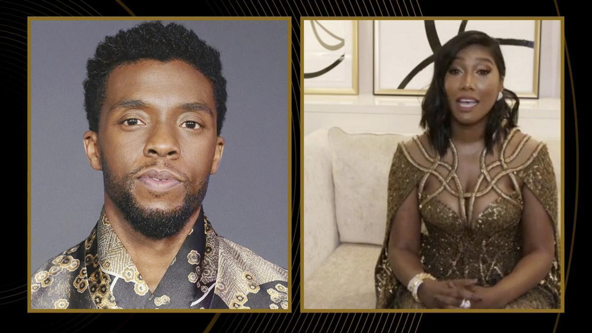 Taylor Simone Ledward Boseman, viuda de Chadwick Boseman, recoge el premio al actor en una gala marcada por la polémica racial