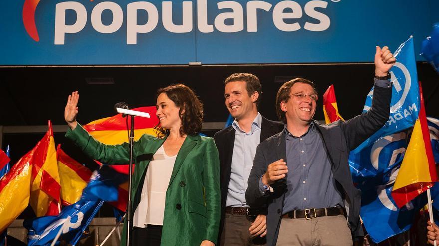 Díaz Ayuso, Casado y Martínez-Almeida, este domingo.