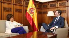 Reunión entre Pablo Casado y Soraya Sáenz de Santamaría en el Congreso. PP
