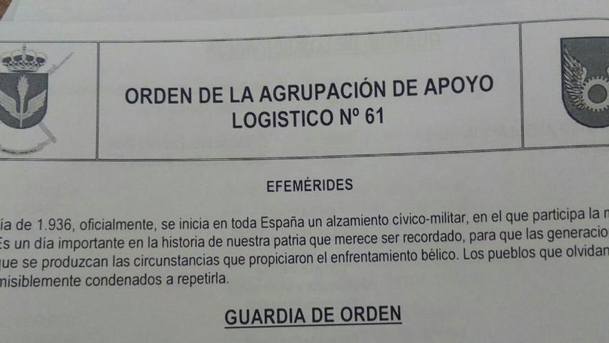 Efeméride de la Agrupación de Apoyo Logístico Nº61 del Ejército de Tierra