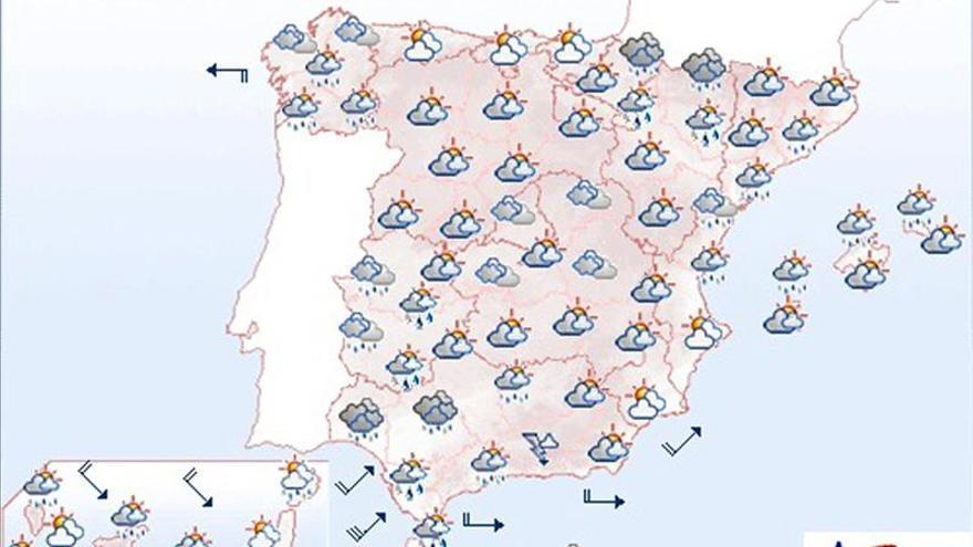Mañana precipitaciones fuertes en el suroeste de Andalucía