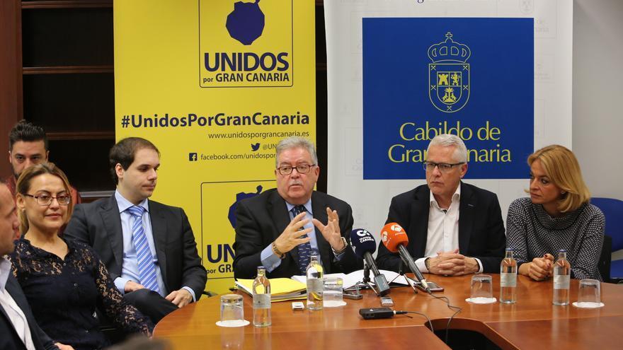 Daniel Reyes, José Miguel Bravo de Laguna, José Francisco Pérez y Esther Monzón, consejeros de Unidos por Gran Canaria en el Cabildo de Gran Canaria