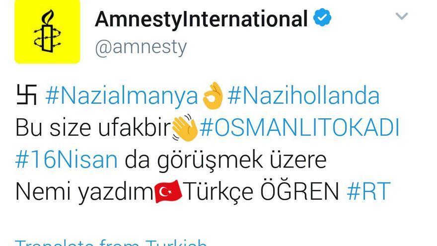 La cuenta de Amnistía Internacional, entre los cientos de cuentas hackeadas.