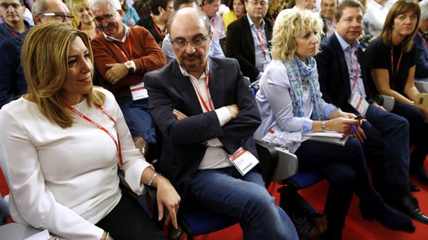 Susana Díaz y Javier Lambán en primera fila del Comité Federal.