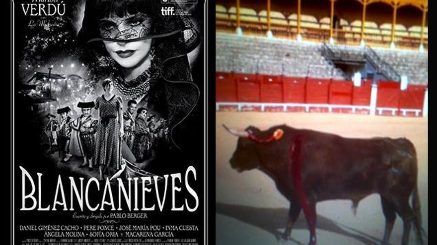 Cartel de 'Blancanieves' y novillo torturado durante el rodaje. Foto: Justicia Animal