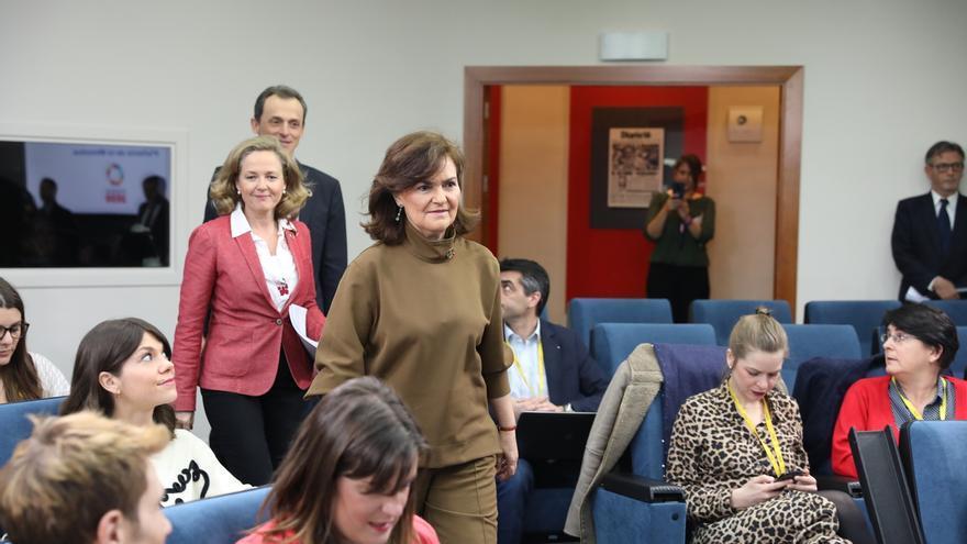 Carmen Calvo, a su llegada a la rueda de prensa posterior al Consejo de Ministros