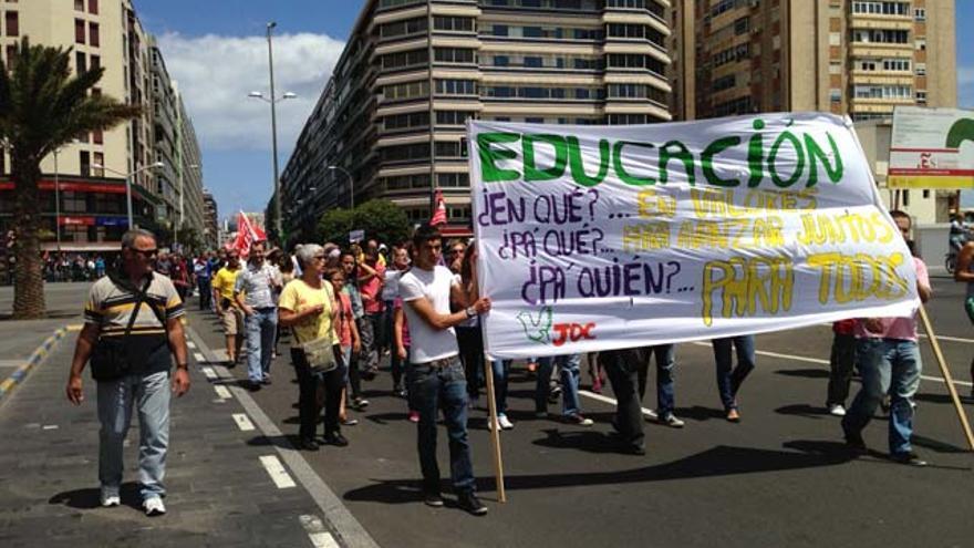 Imagen de la manifestación con motivo del Primero de mayo celebrada en Las Palmas de Gran Canaria. CANARIAS AHORA