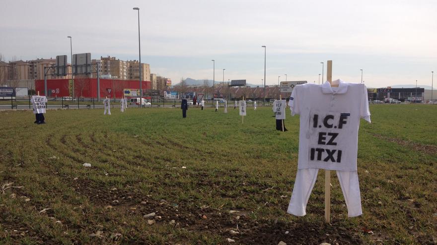 Una protesta contra el cierre de Faurecia realizada en el entorno de la planta.