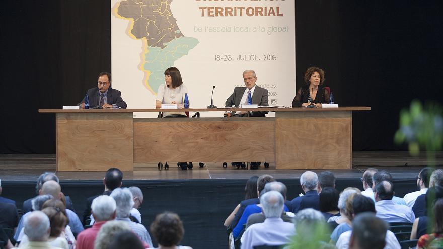 El conseller Vicent Soler junto a la alcaldesa de Gandia, Diana Morant, el rector de la Universitat de València, Esteban Morcillo, y la directora general de Universidad, Investigación y Ciencia, Josefina Bueno