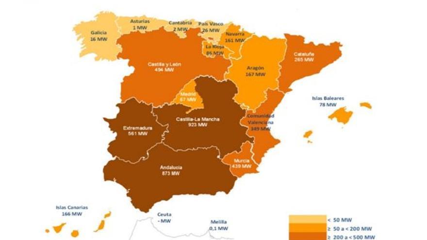 Potencia de energía fotovoltaica instalada en España