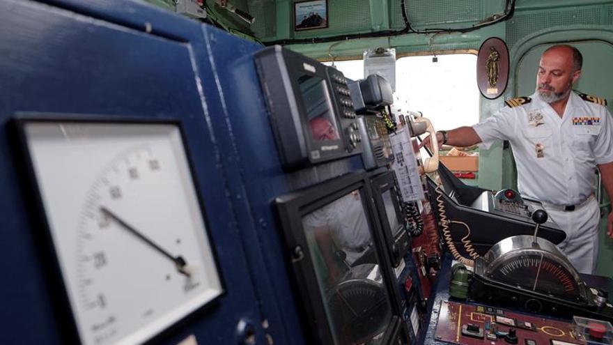 El capitán de fragata Emilio Regodón, responsable del buque científico de la Armada 'Hespérides', este jueves en Gran Canaria