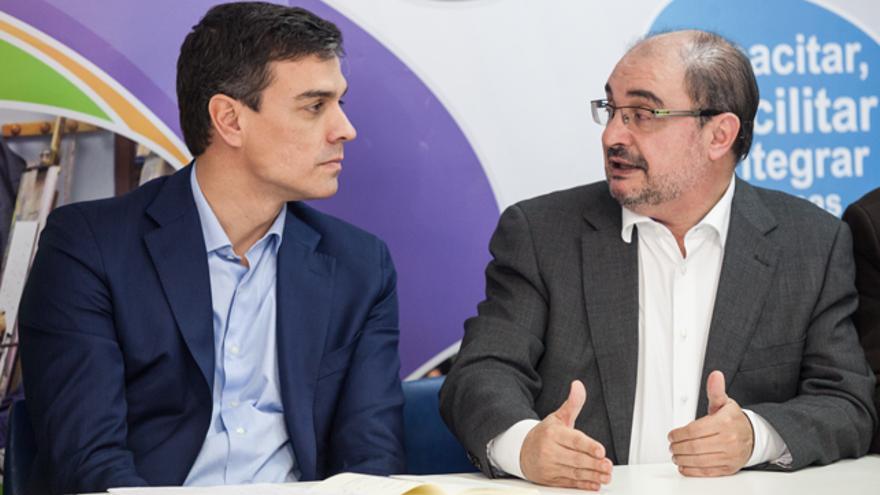 Javier Lambán y el exsecretario general del PSOE, Pedro Sánchez.