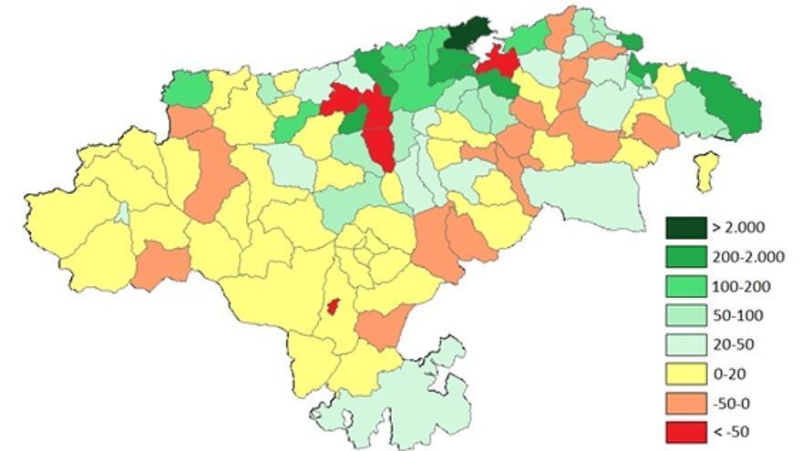Mapa 1.  Variación del número de puestos de trabajo (2013-2016), por municipios.   Fuente: elaboración propia, con la orientación de mi compañero y amigo el Prof. Jose Manuel Alonso, a partir de datos de la Seguridad Social.