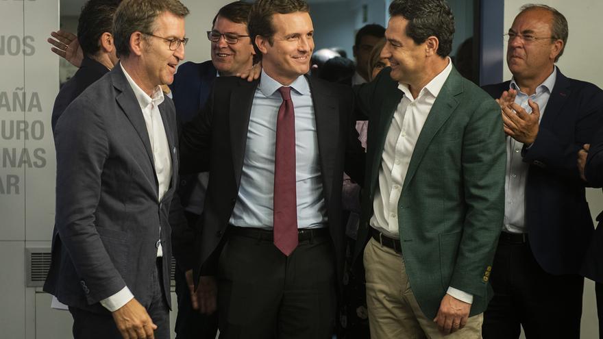 Feijóo, Casado y Moreno, este lunes, antes del Comité Ejecutivo Nacional del PP.
