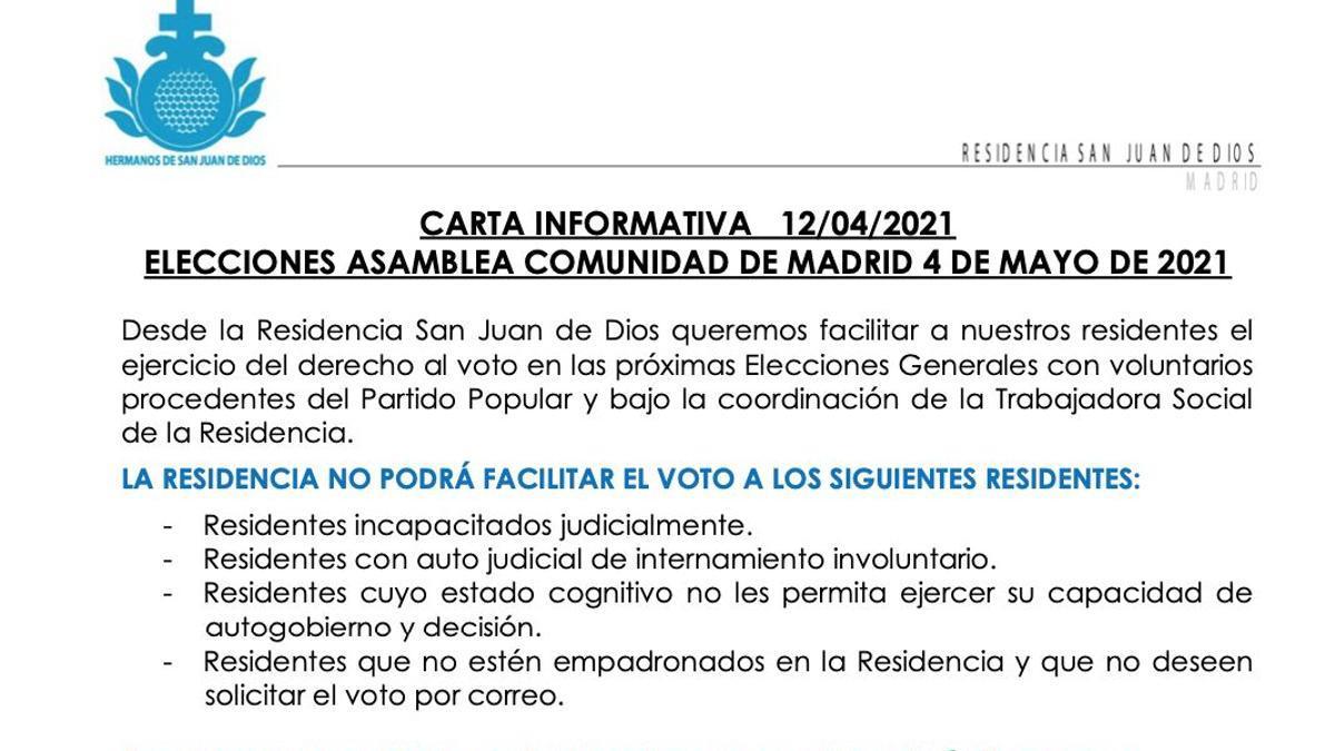 """Captura de la carta de la Residencia San Juan de Dios informando de la participación de """"voluntarios"""" del PP para """"facilitar"""" el voto a los ancianos."""