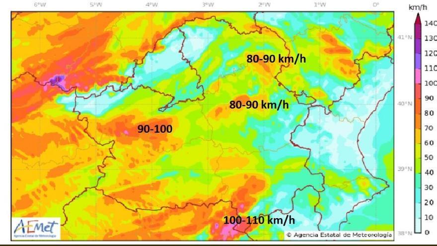 Modelos de Aemet Castilla-La Mancha con las rachas de viento en la región, esta tarde a las 19 horas