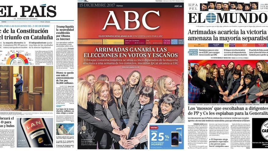 Portadas de El País, Abc y El Mundo