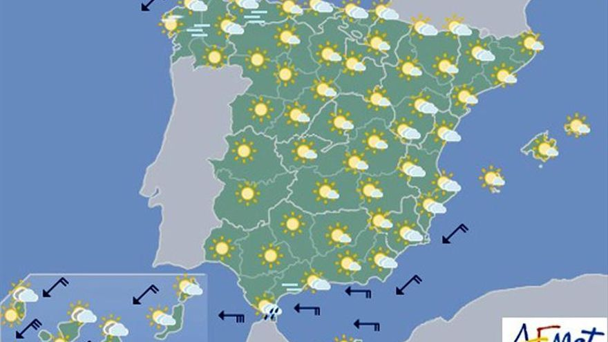 Hoy, chubascos y tormentas en Sistema Ibérico y viento fuerte en Canarias