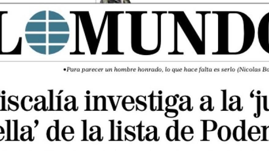 La primera portada de El Mundo el día que comenzaba la campaña electoral de 2015.