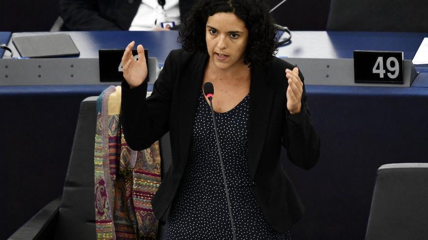 PHOTOPQR/L'EST REPUBLICAIN ; POLITIQUE - EUROPE - UE - UNION EUROPEENNE - INSTITUTION EUROPEENNE - PARLEMENT EUROPEEN - EUROPEAN PARLIAMENT. Strasbourg 17 septembre 2019. La députée européenne française Manon AUBRY dans l'hémicycle du Parlement Européen de Strasbourg lors d'une séance plénière.