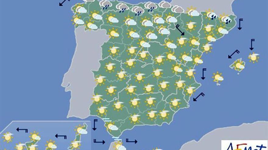 Hoy bajan los termómetros en mitad nordeste peninsular y suben en Canarias