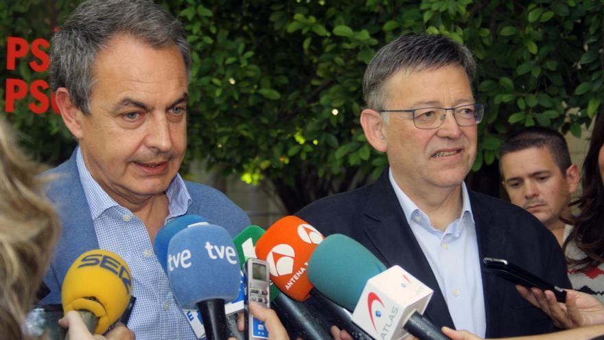 El expresidente Rodríguez Zapatero junto al líder del PSPV Ximo Puig