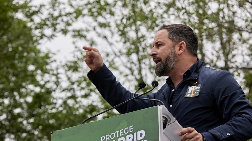 El presidente de Vox, Santiago Abascal, durante un acto electoral.