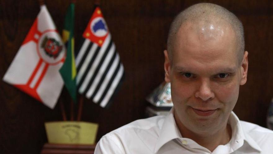 El alcalde de Sao Paulo, Bruno Covas, durante una entrevista con Efe ayer jueves, en Sao Paulo (Brasil).