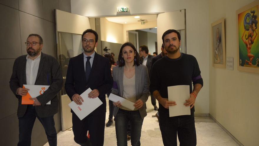 Juan Carlos Girauta, Antonio Hernando, Irene Montero y Alberto Garzón.