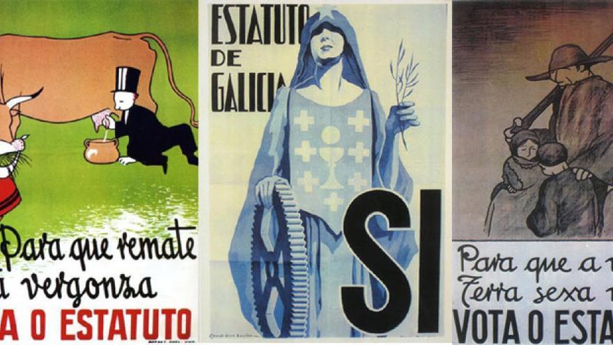 Carteles de la campaña estatutaria gallega de 1936, obra de Castelao y Camilo Díaz Baliño (centro)