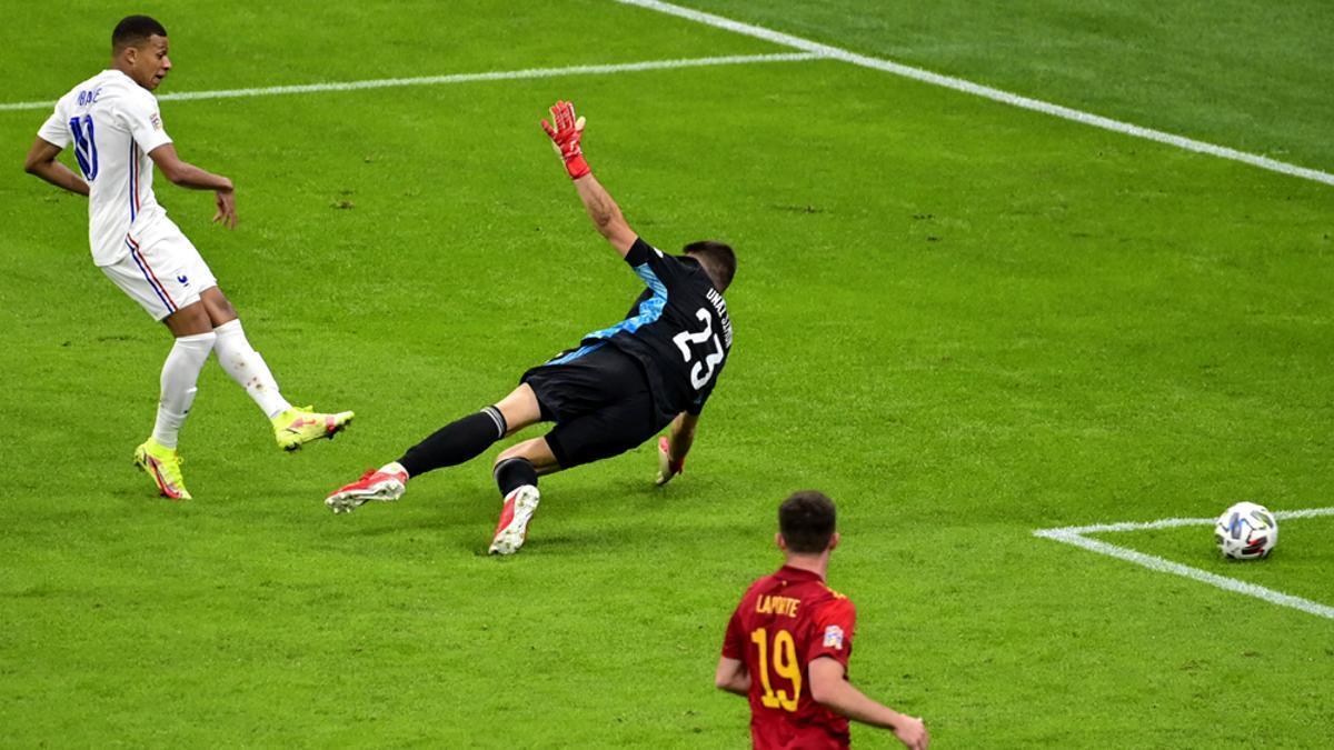 Mbappé, en el momento de marcar el 1-2 a favor de Francia