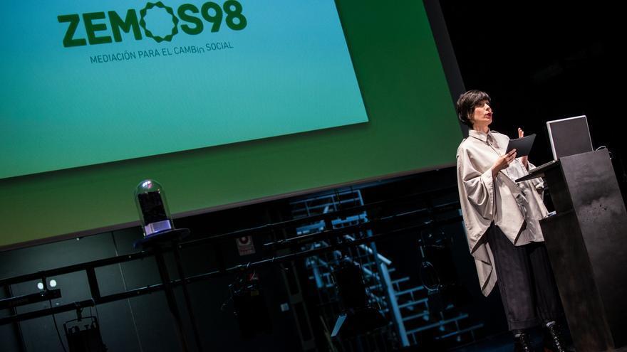 Cristina Domínguez, durante la presentación del 20º aniversario de Zemos 98