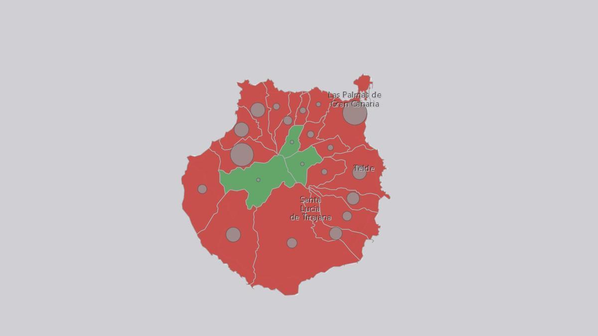 Gran Canaria según el número de contagios notificados: rojo, al menos un caso en la última semana; verde,  al menos un caso en los últimos 30 días
