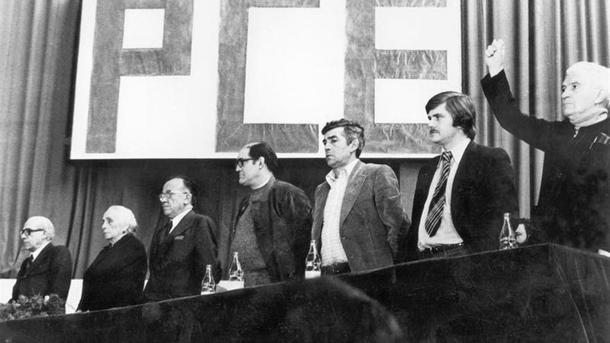 Mitin del Partido Comunista de España durante la campaña electoral para las elecciones generales del 15 de junio de 1977.