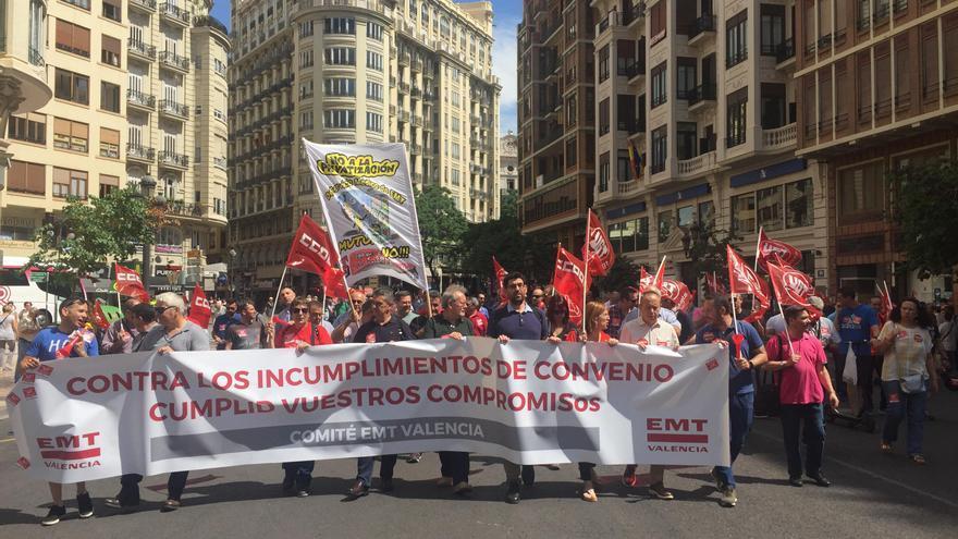 Protesta de los trabajadores de la EMT