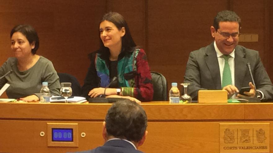 Carmen Montón durante su comparecencia en una comisión de las Corts Valencianes.