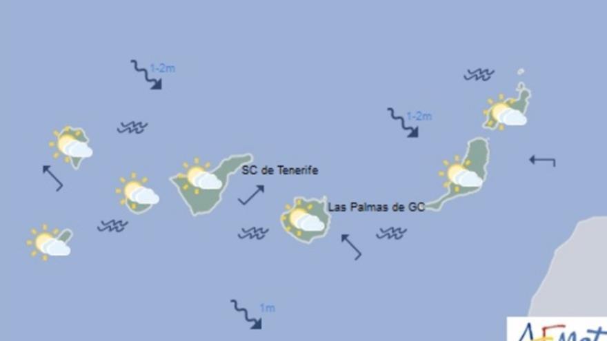 Mapa de la previsión meteorológica para el jueves 1 de diciembre