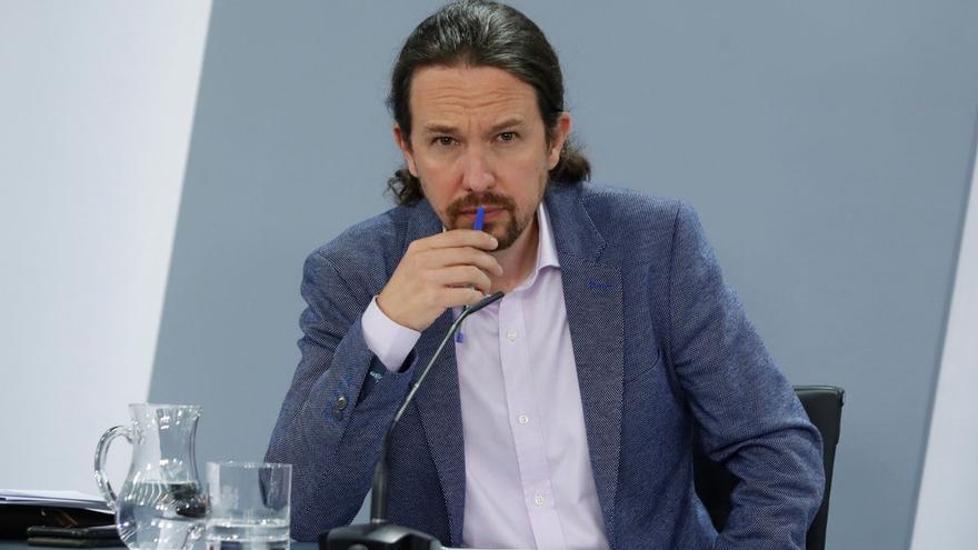El líder de Podemos, Pablo Iglesias, en una rueda de prensa.
