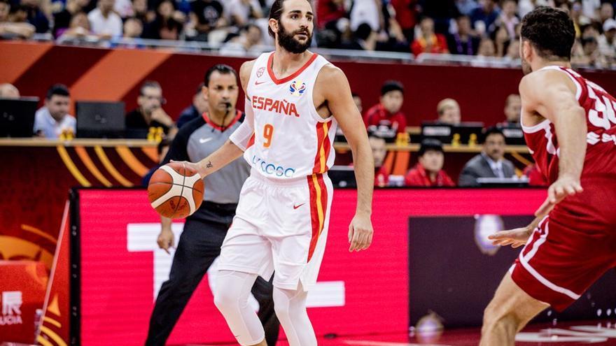 Ricky Rubio lideró este martes a la selección española de baloncesto.