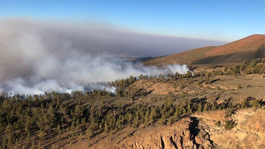 Vista del incendio forestal del sur de Tenerife en una parte con pinar a mayor altitud