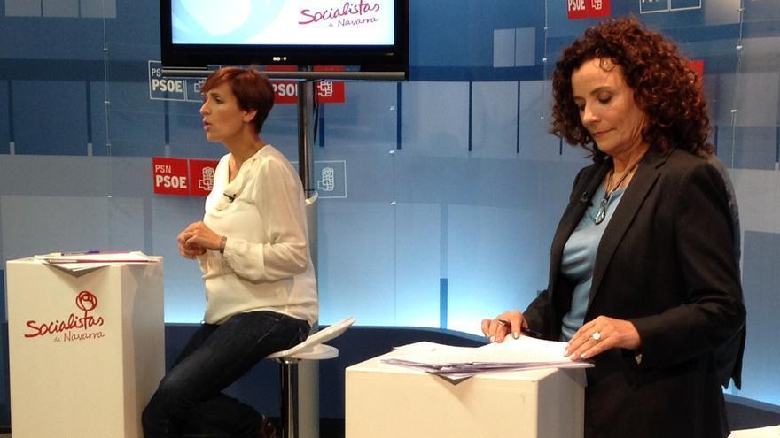 María Chivite y Amanda Acedo, durante el debate en la sede del PSN.