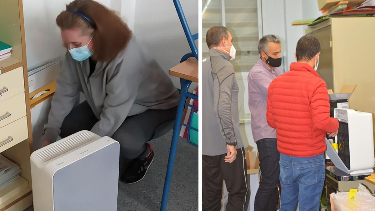 Filtros HEPA instalados ya por los padres en el colegio Malmuerta.