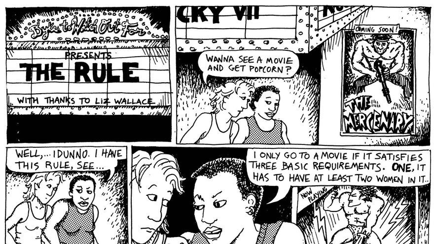 "Alison Bechdel. ""The Rule"" (en ""Dykes to Watch Out For""), 1985."