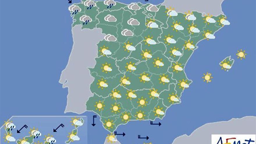 Hoy, precipitaciones localmente fuertes en el área cantábrica