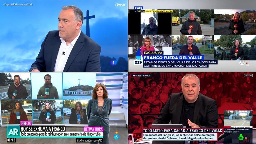 La cobertura televisiva de la exhumación de Franco
